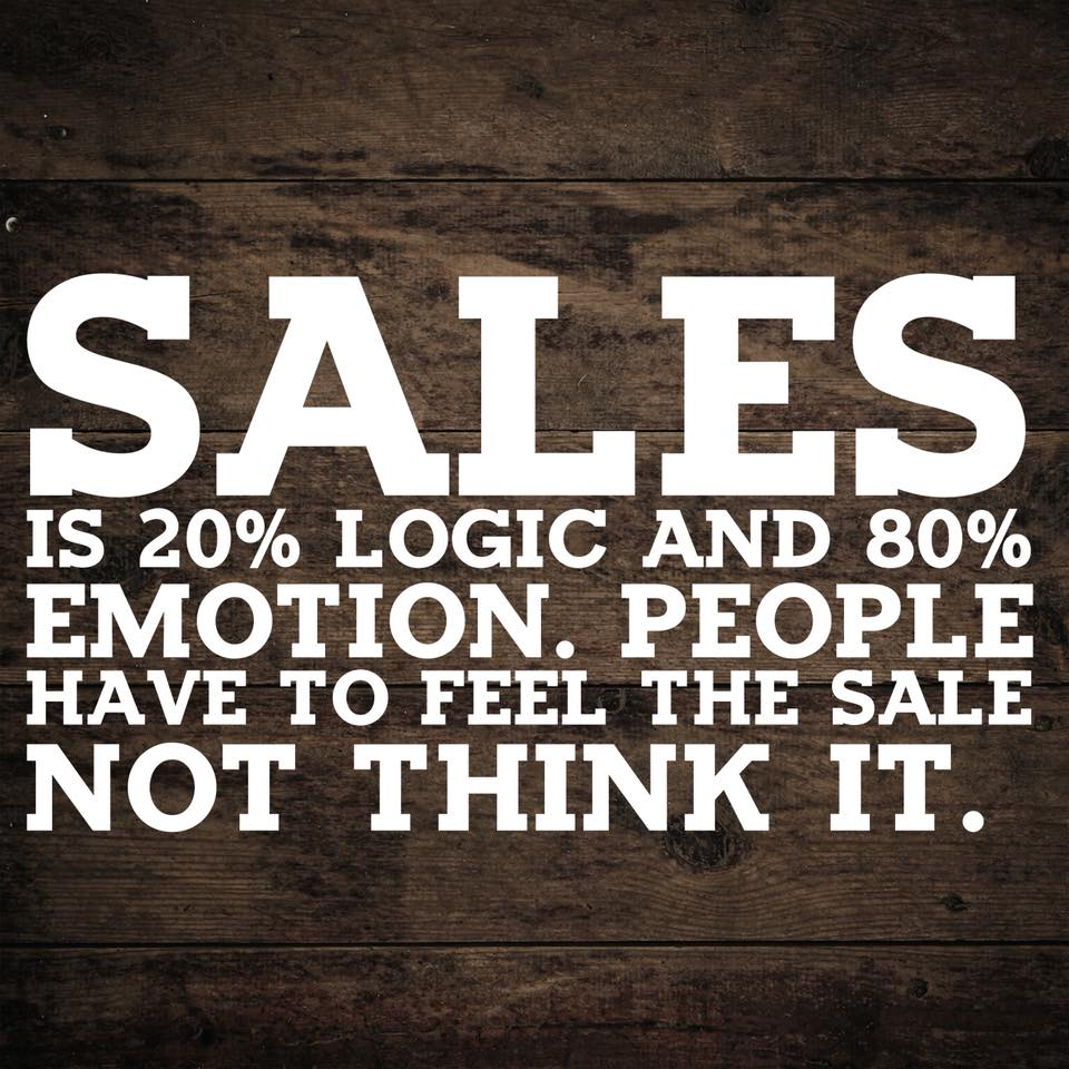 SALES IS 80% LOGIC AND 20% EMOTION